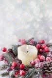 Στεφάνι Χριστουγέννων από τα κόκκινα μούρα, ένα γούνα-δέντρο και τους κώνους Στοκ Φωτογραφίες