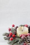 Στεφάνι Χριστουγέννων από τα κόκκινα μούρα, ένα γούνα-δέντρο και τους κώνους Στοκ Εικόνες