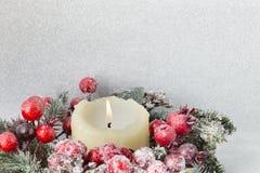 Στεφάνι Χριστουγέννων από τα κόκκινα μούρα, ένα γούνα-δέντρο και τους κώνους Στοκ Φωτογραφία