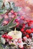 Στεφάνι Χριστουγέννων από τα κόκκινα μούρα, ένα γούνα-δέντρο και τους κώνους Στοκ Εικόνα
