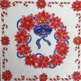 Στεφάνι Χριστουγέννων και κόκκινα μάνδρα λουλουδιών Poinsettia και σχέδιο μελανιού Στοκ Εικόνες