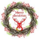 Στεφάνι Χριστουγέννων με ένα ελάφι Στοκ Εικόνες