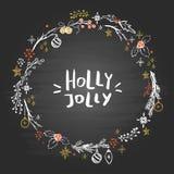 Στεφάνι Χριστουγέννων με συρμένα τα χέρι στοιχεία στον πίνακα απεικόνιση αποθεμάτων
