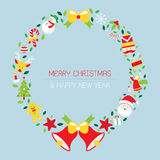 Στεφάνι Χριστουγέννων με τα εικονίδια, αντικείμενα διανυσματική απεικόνιση