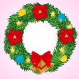 Στεφάνι Χριστουγέννων με τα κουδούνια, τα λουλούδια poinsettia και τις σφαίρες Απλό ύφος κινούμενων σχεδίων επίσης corel σύρετε τ Στοκ φωτογραφίες με δικαίωμα ελεύθερης χρήσης