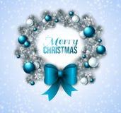 Στεφάνι Χριστουγέννων με τα μπλε και άσπρα μπιχλιμπίδια διανυσματική απεικόνιση