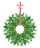 Στεφάνι Χριστουγέννων με την κορδέλλα Στοκ Φωτογραφίες