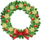 Στεφάνι Χριστουγέννων με την παραδοσιακή πράσινη σφαίρα διακοσμήσεων τόξων, κουδούνια, κορδέλλες ελεύθερη απεικόνιση δικαιώματος