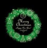 Στεφάνι Χριστουγέννων με τη δαντελλωτός διακόσμηση Στοκ Εικόνες