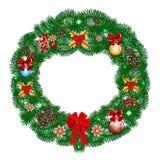 Στεφάνι Χριστουγέννων με τις σφαίρες διακοσμήσεων Στοκ Εικόνες