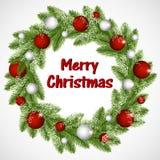 Στεφάνι Χριστουγέννων με τις σφαίρες και snowflakes απεικόνιση αποθεμάτων