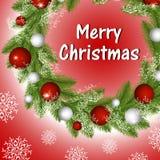 Στεφάνι Χριστουγέννων με τις σφαίρες και snowflakes διανυσματική απεικόνιση