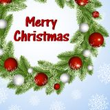 Στεφάνι Χριστουγέννων με τις σφαίρες και snowflakes ελεύθερη απεικόνιση δικαιώματος