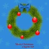 Στεφάνι Χριστουγέννων με τις σφαίρες Χριστουγέννων Στοκ φωτογραφία με δικαίωμα ελεύθερης χρήσης