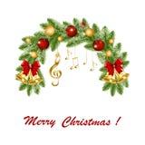 Στεφάνι Χριστουγέννων με τις χρυσές μουσικές νότες και το τριπλό clef διανυσματική απεικόνιση