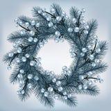 Στεφάνι Χριστουγέννων με τους ασημένιους κλάδους έλατου ελεύθερη απεικόνιση δικαιώματος