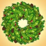 Στεφάνι Χριστουγέννων με τους κώνους και το μούρο ελαιόπρινου Στοκ Εικόνες