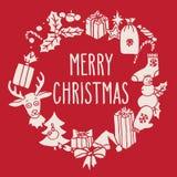 Στεφάνι Χριστουγέννων με τους χαιρετισμούς Στοκ Εικόνα