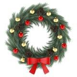 Στεφάνι Χριστουγέννων με το κόκκινο τόξο Στοκ Εικόνα