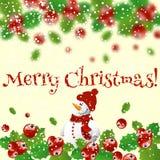 Στεφάνι Χριστουγέννων με το μούρο και το χιονάνθρωπο ελαιόπρινου Στοκ Εικόνες