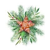 Στεφάνι Χριστουγέννων με το μπισκότο, firtree και το κλαδί ελιάς Handdrawn απεικόνιση Watercolor που απομονώνεται στο λευκό ελεύθερη απεικόνιση δικαιώματος