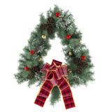 Στεφάνι Χριστουγέννων με το τόξο που απομονώνεται Στοκ Εικόνες