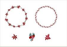 Στεφάνι Χριστουγέννων με το poinsettia και τα μούρα Πρότυπο για το seaso διανυσματική απεικόνιση
