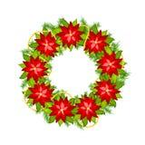 Στεφάνι Χριστουγέννων με το poinsettia Στοκ Εικόνες