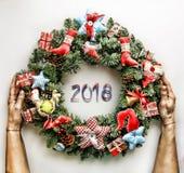 Στεφάνι Χριστουγέννων νέο έτος Διακοπές Χριστουγέννων Στοκ Εικόνες