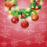 Στεφάνι Χριστουγέννων σε ένα κόκκινο υπόβαθρο χαιρετισμός καλή χρονιά καρτών του 2007 Στοκ φωτογραφίες με δικαίωμα ελεύθερης χρήσης