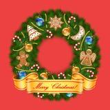 Στεφάνι Χριστουγέννων στο κόκκινο υπόβαθρο Στοκ Φωτογραφίες