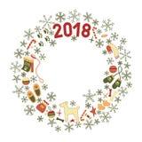 Στεφάνι Χριστουγέννων, σύμβολα του σκυλιού έτους Στοκ εικόνες με δικαίωμα ελεύθερης χρήσης