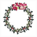Στεφάνι Χριστουγέννων της Holly, του κισσού και του poinsettia διανυσματική απεικόνιση