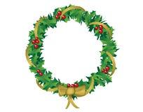 Στεφάνι Χριστουγέννων του ελαιόπρινου και της κορδέλλας Στοκ Εικόνες