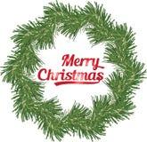 Στεφάνι Χριστουγέννων του κλάδου κωνοφόρων, διανυσματική απεικόνιση Στοκ φωτογραφία με δικαίωμα ελεύθερης χρήσης