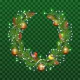 Στεφάνι Χριστουγέννων των κλάδων έλατου στο διαφανές πράσινο υπόβαθρο Σφαίρες Χριστουγέννων διακοσμήσεων διακοπών, κώνοι πεύκων,  ελεύθερη απεικόνιση δικαιώματος