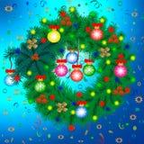 Στεφάνι Χριστουγέννων των κλάδων και του κομφετί έλατου Νέο έτος, Χριστούγεννα, Παραμονή Χριστουγέννων απεικόνιση αποθεμάτων