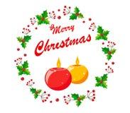 Στεφάνι Χριστουγέννων των μούρων και των φύλλων ελαιόπρινου με τα κεριά και τη Χαρούμενα Χριστούγεννα κειμένων ελεύθερη απεικόνιση δικαιώματος