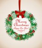 Στεφάνι Χριστουγέννων Χαιρετισμοί εποχής Στοκ Εικόνες