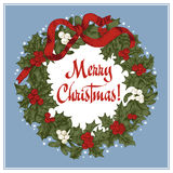 Στεφάνι Χριστουγέννων Χριστούγεννα νέο έτος Διανυσματική εκλεκτής ποιότητας απεικόνιση απεικόνιση αποθεμάτων