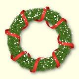 Στεφάνι Χριστουγέννων Fir-trees με την κορδέλλα και snowflakes ελεύθερη απεικόνιση δικαιώματος