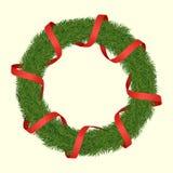 Στεφάνι Χριστουγέννων Fir-trees με την κορδέλλα διανυσματική απεικόνιση