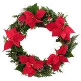 Στεφάνι Poinsettia Χριστουγέννων Στοκ Εικόνα