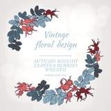 Στεφάνι rosehip των φύλλων και των μούρων Φθινοπωρινό στρογγυλό πλαίσιο ελεύθερη απεικόνιση δικαιώματος