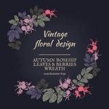 Στεφάνι rosehip των φύλλων και των μούρων Φθινοπωρινό στρογγυλό πλαίσιο διανυσματική απεικόνιση