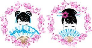 Στεφάνι Sakura με το πορτρέτο του ασιατικού κοριτσιού Στοκ Εικόνα