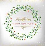Στεφάνι watercolor καλής χρονιάς 2016 Χαρούμενα Χριστούγεννας Ιδανικό για την κάρτα Χριστουγέννων ή την κομψή πρόσκληση κομμάτων  Στοκ Εικόνες