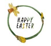 Στεφάνι Watercolor των daffodils στο θέμα της άνοιξη και Πάσχας στοκ φωτογραφία με δικαίωμα ελεύθερης χρήσης