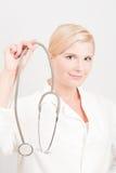 στηθοσκόπιο γιατρών femail Στοκ Εικόνες