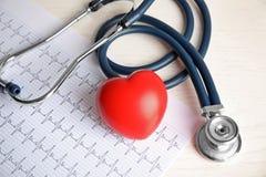 Στηθοσκόπιο, κόκκινα καρδιά και καρδιογράφημα στον πίνακα στοκ φωτογραφίες με δικαίωμα ελεύθερης χρήσης